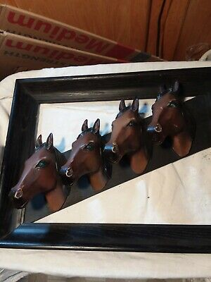 4 Horses Heads 3-D Framed-Very Unique