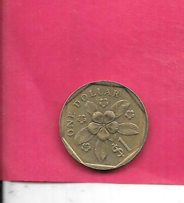 SINGAPORE KM54b 1988 XF-SUPER FINE-NICE CIRCULATED OLD VINTAGE DOLLAR COIN