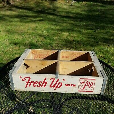 vintage white 7 UP wood crate