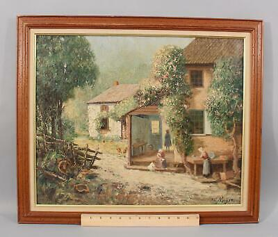 Antique Signed O/C European Dutch Country Cottage & Garden Oil Painting, NR