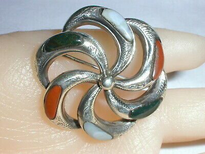 Antique Victorian Scottish Sterling Agate Textured Brooch- Early 1900'S!