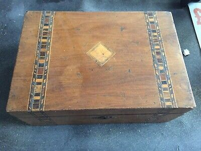 Victorian inlaid walnut sewing box