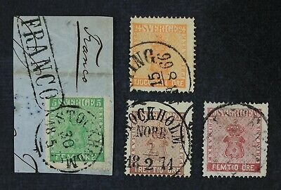 CKStamps: Sweden Stamps Collection Scott#6 Crease 10 11, 12 Thin Used