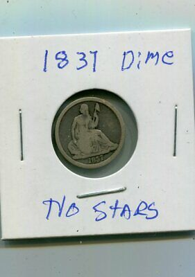 First Year Type 1837 Seated Liberty Large Date No Stars 10C Silver Dime (10¢)