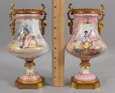 Pair Small Antique French Porcelain Painting Sevres Mark Gilt Bronze Mantle Urns