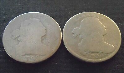 Lot of 2 Draped Bust Large Cents - 1798 and 1807/6