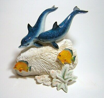 Beautiful AMY & ADDY  Dolphin Carved Figurine In the Coral w/ Tropical Fish