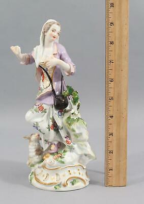 1920s Antique Early 20thC German Meissen Porcelain Figurine Girl w/ Dog NR