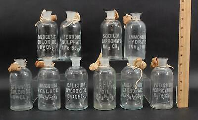 Antique 1920s Apothecary Embossed Letter Lab Chemical Glass Reagent Bottles