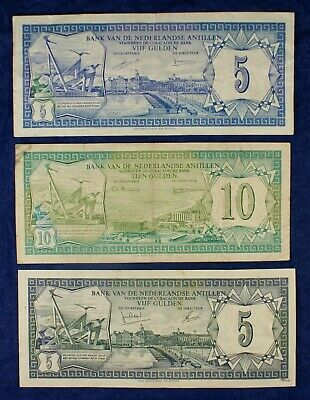 1972-1980 Curacao Netherlands Antilles 5 & 10 Gulden Currency Banknotes 3 Notes