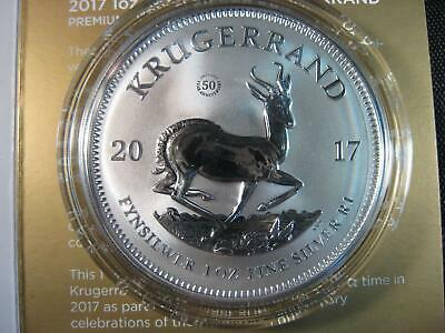 2017 South Africa 1 oz. .999 Silver Krugerrand GEM 50th Ann. Premium w/BOX & COA