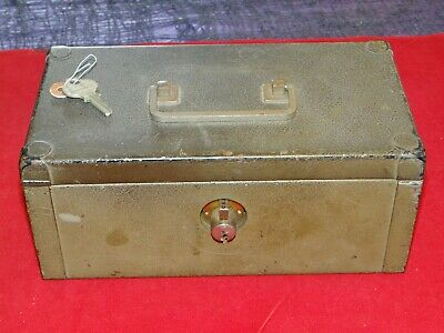 Vintage Antique Late 1930's Steel Metal Lock Box Cash Document Box Heavy-Duty!