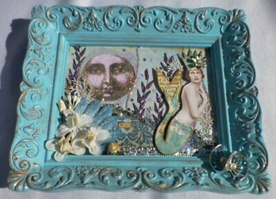 Small Mixed Media MERMAID Collage ART Picture in Turquoise Plastic Frame