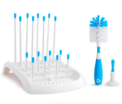 Baby Bottle+Sippy Cup Cleaning Set, Includes Countertop Drying Rack+Bristle Blue