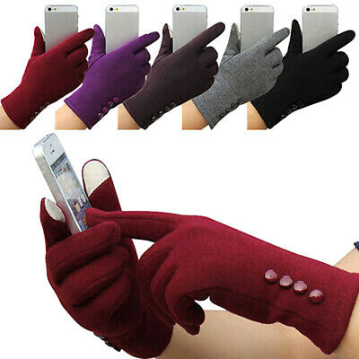 Women Winter Outdoors Warm Touch Screen Gloves Solid Full Finger Mittens Newly