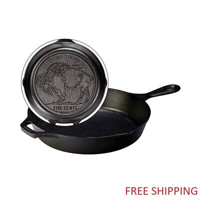 "Lodge Seasoned Cast Iron Buffalo Nickel Skillet - 10.25"" - NEW - FREE SHIPPING"