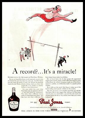 "1941 Paul Jones Whiskey High Jumper ""A Record? It's A Miracle!"" Vintage Print Ad"