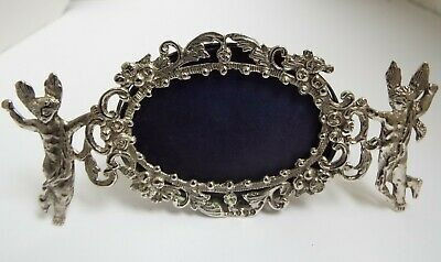 Beautiful Rare English Antique 1887 Cast Solid Silver Cherubs Angels Photo Frame