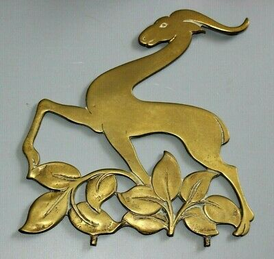 Large Vintage / Antique (Art Deco?) Brass Antelope For Box Or Stand. . .