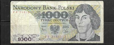 POLAND #146C 1982 very good USED 1000 ZLOTYCH OLD BANKNOTE PAPER MONEY CURRENCY