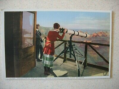 pre-1915 GRAND CANYON Nat'l Park ~ the TELESCOPE at the LOOKOUT (Fred Harvey)
