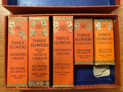Vintage Hudnut Three Flowers Boxed Set - Boxes Only
