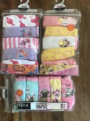 Brand New 3 Packs Of M & Co Girls Knickers 2-3 3-4