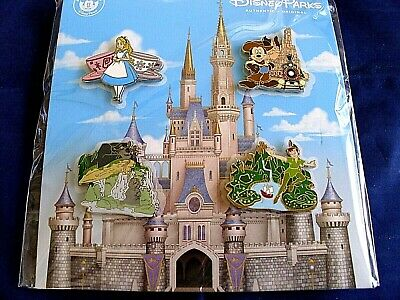 Disney Parks * CHARACTERS at ATTRACTIONS * New in Pack 4 pin BOOSTER Set