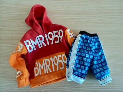 Barbie / Ken .BMR 1959 Fashion. Red and Orange Oversize Hoodie and Blue Shorts