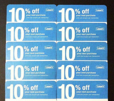 20x Lowes 10% Off physical COMPETITOR Coupon MARCH 3/15/2021 Home Depot Only