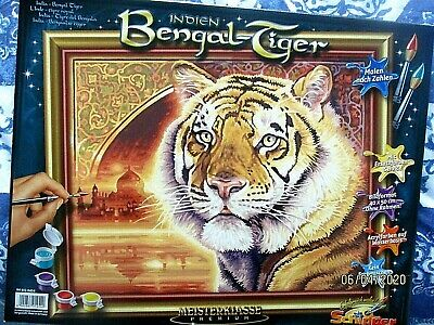"Painting by Numbers Kit - Includes Paints / Brush / Board ""BENGAL TIGER"""