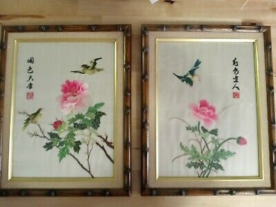 Set of 2 Vintage Framed Chinese Silk Hand Embroidered Floral with Birds Wall Art