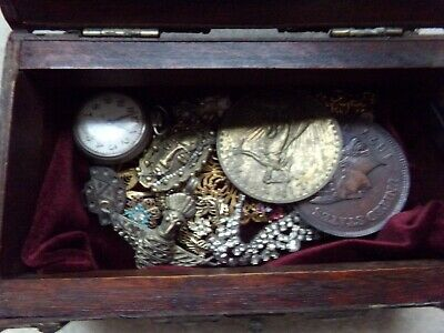 Treasure Box with old jewelry, souvenir large coins,etc.
