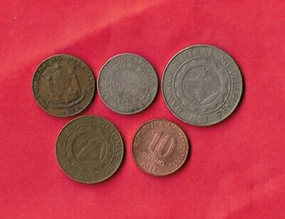Philippines 5 Different 1972-2014   Coin Lot Collection Set Group Inc Old