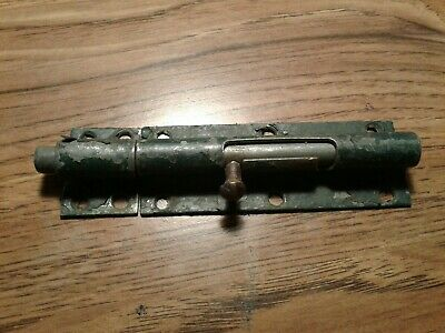 Vintage Sliding Bolt Door Lock w/ Catch   heavy duty lot 1