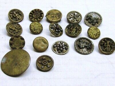 17 Antique Brass Metal Clothing Buttons