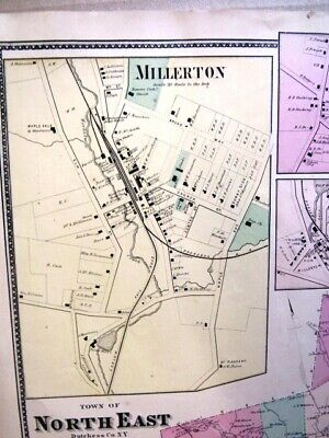 1867 Town & Villages Of Northeast Map Dutchess Co. Ny Beers Atlas