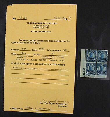 CKStamps: US Stamps Collection Scott#674 5c Block Mint NH OG with PF Cert