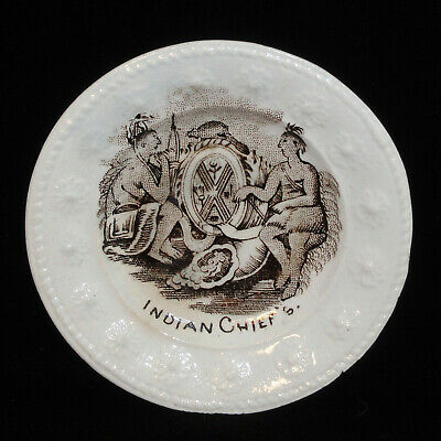 Miniature Historical Plate Gold Rush Indian Chiefs Traders 1850 Transferware
