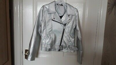 George Girls Silver Leather Effect Jacket With Zip & Belt Age 9-10 Vgc