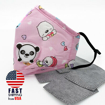 Pink Bear Reusable Kids Cotton Panda Valve Face Mask Filter Pocket, PM2.5 Filter