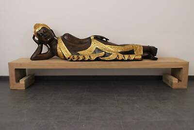 Reclining Nirvana Buddha Figurine 155cm Wood Statue Leaves Gold Plated -