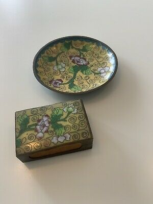 Antique Chinese Cloisonne Floral Matchbox Holder + Valet