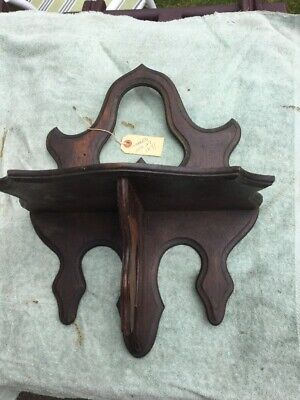 Antique Victorian Carved Walnut Wood Wall Shelf Clock Holder Dated 1871