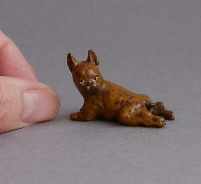 TINY Vintage/Antique SOLID BRONZE Metal FRENCH BULLDOG Miniature FRENCHIE Dog