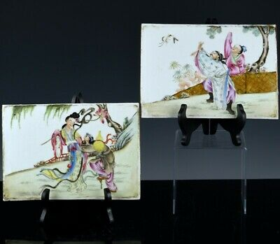 Great Pair Old Chinese Republic Famille Rose Immortals Porcelain Wall Plaques