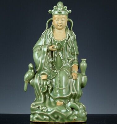 Large Chinese Longquan Celadon Glaze Guanyin Buddha Figure With Vase Bird