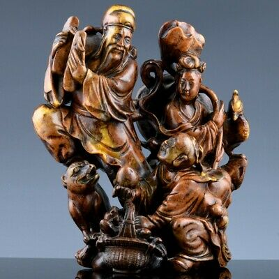 Fine Antique Chinese Soapstone Immortals With Buddhist Lion Boy Peaches Carving