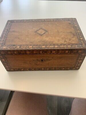 Antique Vintage 175 Year Old Inlaid Wooden Box No Key