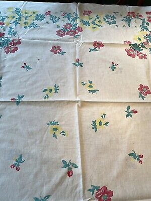 Vintage Mid Century Tablecloth White Yellow And Pink Flowers